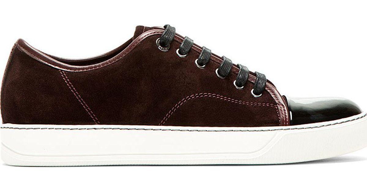 for Sneakers Lyst Lanvin Burgundy Red Suede in Men zUMVpS