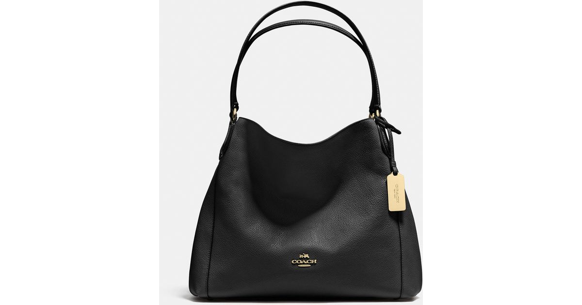 9f0c4ad2fd COACH Black Edie Shoulder Bag 31 In Refined Pebble Leather