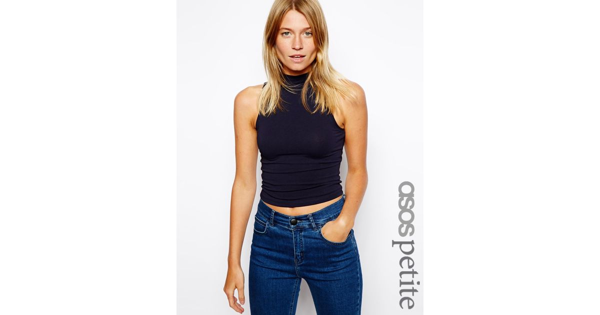 0637a15b25709 Lyst - ASOS Crop Top With Turtle Neck in Black