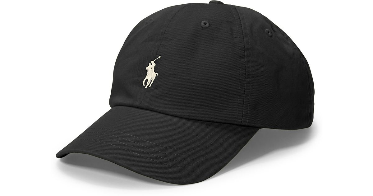 polo ralph lauren polo script chino baseball cap in black for men. Black Bedroom Furniture Sets. Home Design Ideas