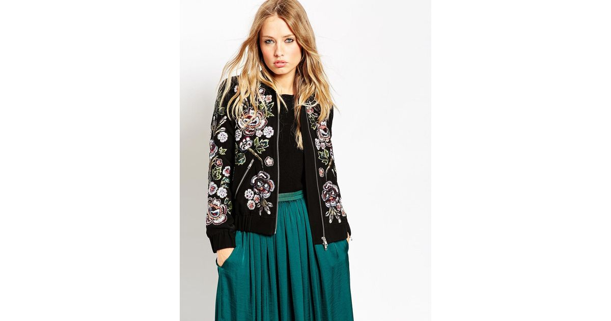 a9acf32c7 Needle & Thread Multicolor Rose Scatter Embellished Bomber