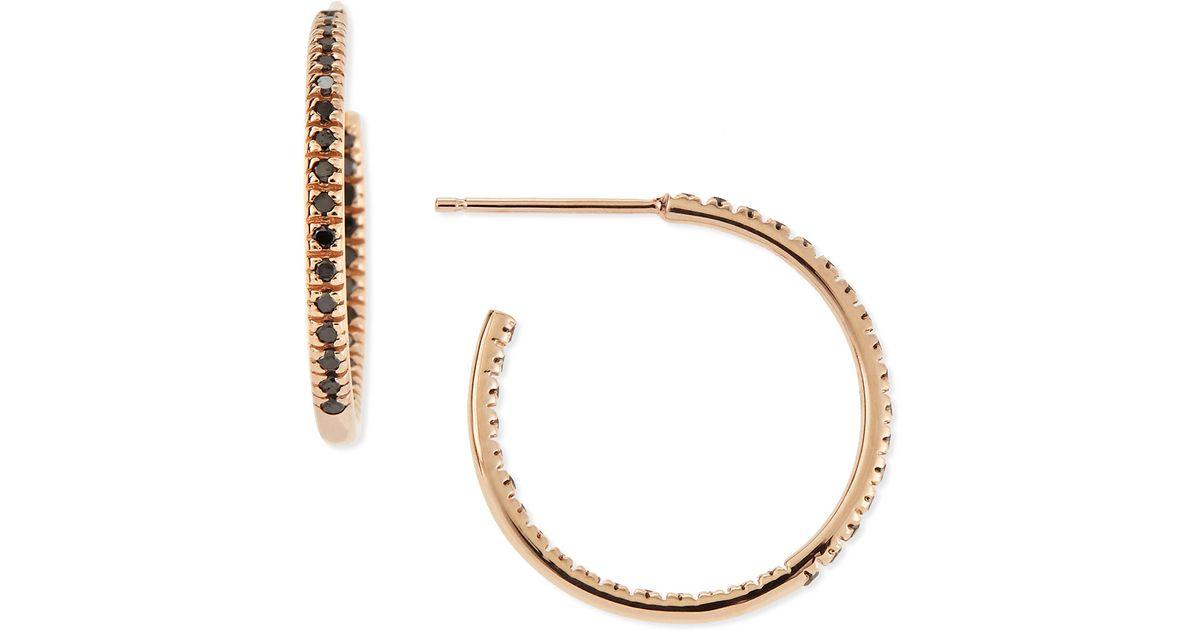Lyst Sydney Evan Small Rose Gold Black Diamond Hoop Earrings In Metallic