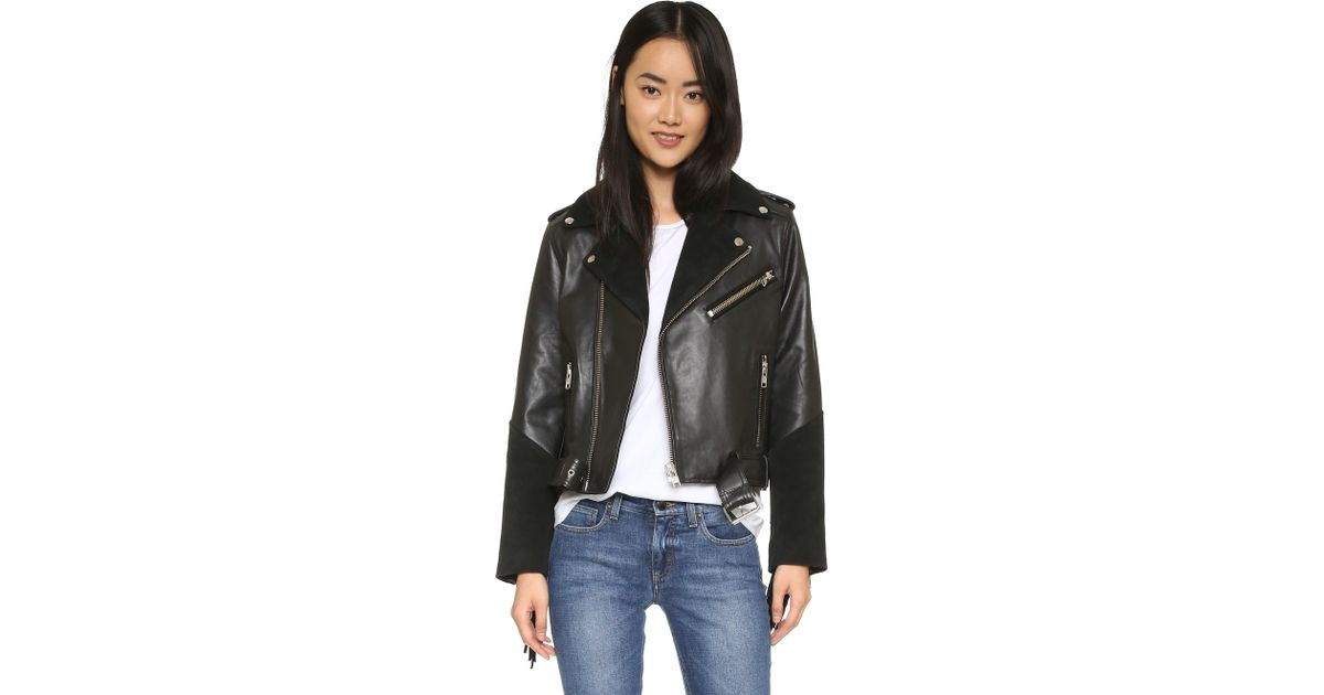 a3a91a6c5fd Ganni Moss Leather Jacket in Black - Lyst