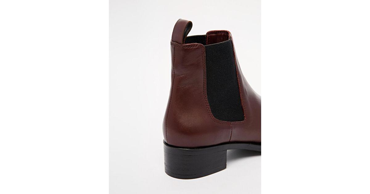 23afc31471f Dune Purple Peppie Burgundy Leather Flat Chelsea Boots