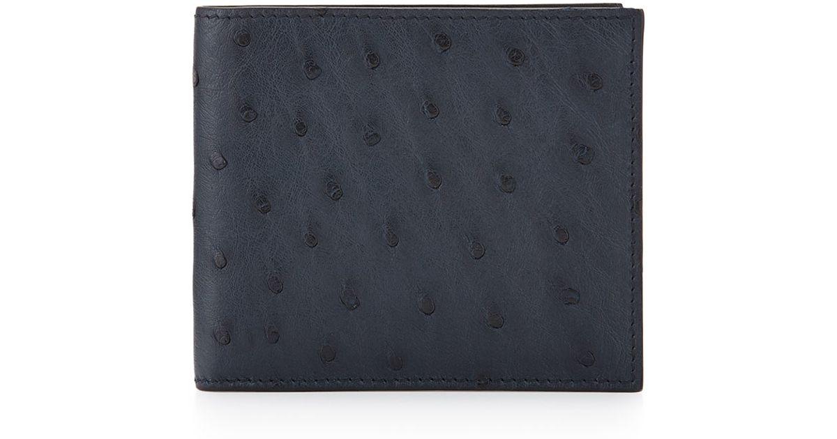 3e4aed18166e Lyst - Prada Ostrich Bi-fold Wallet in Blue for Men