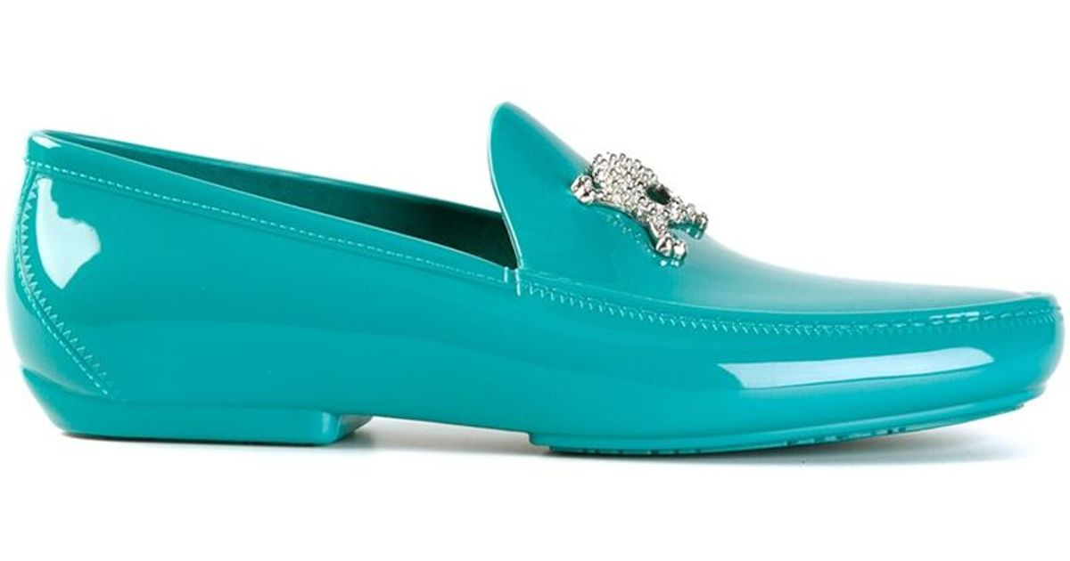 1f3714d0238a5 Vivienne Westwood Blue Skull And Crossbones Embellished Loafers for men