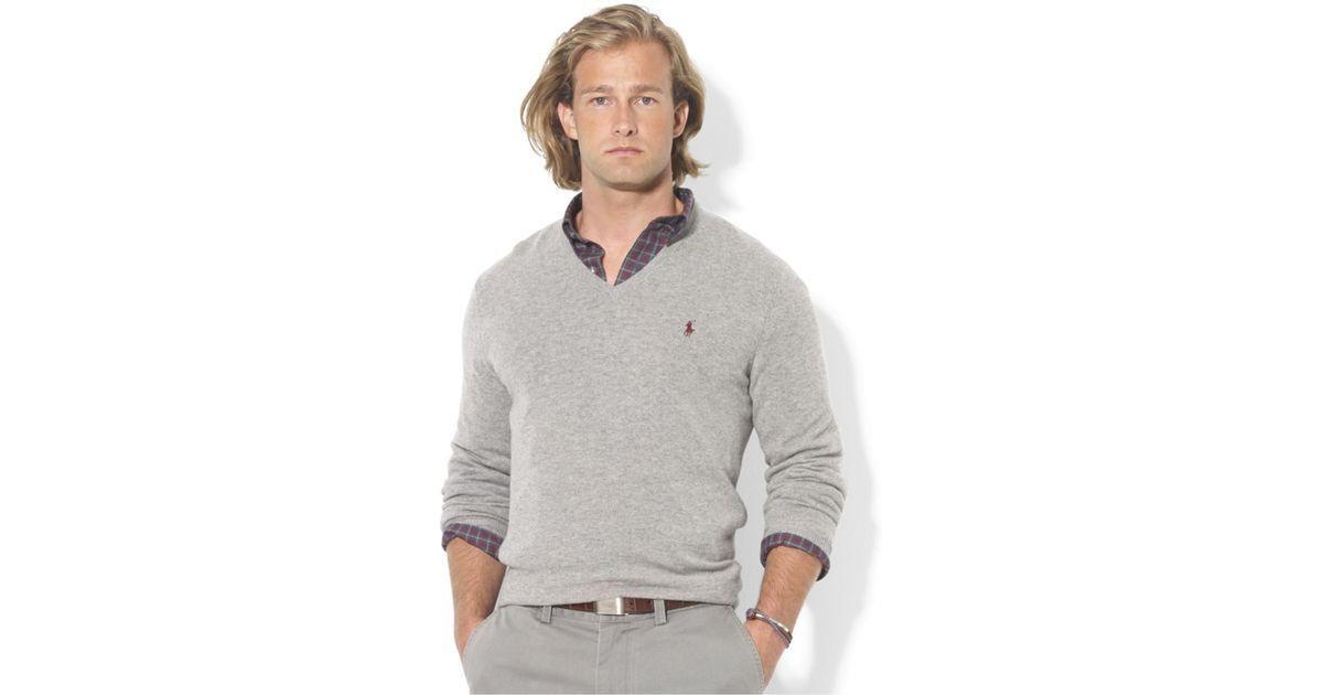 998089f9 Polo Ralph Lauren Gray V-Neck Merino Wool Sweater for men