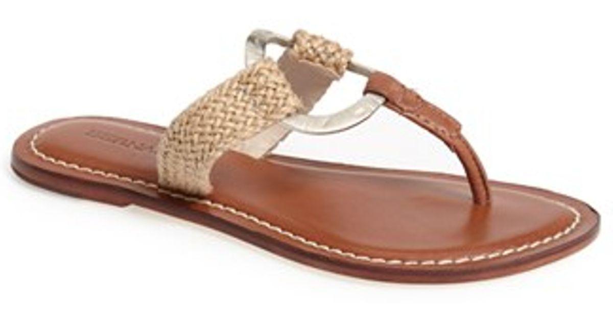 2e7fdfaa398 Lyst - Bernardo Bernardo  matrix  Metal Ring Thong Sandal in Natural