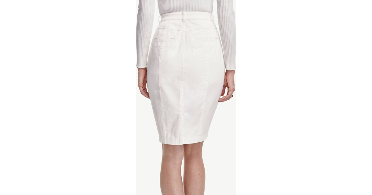 curvy denim pencil skirt in white lyst