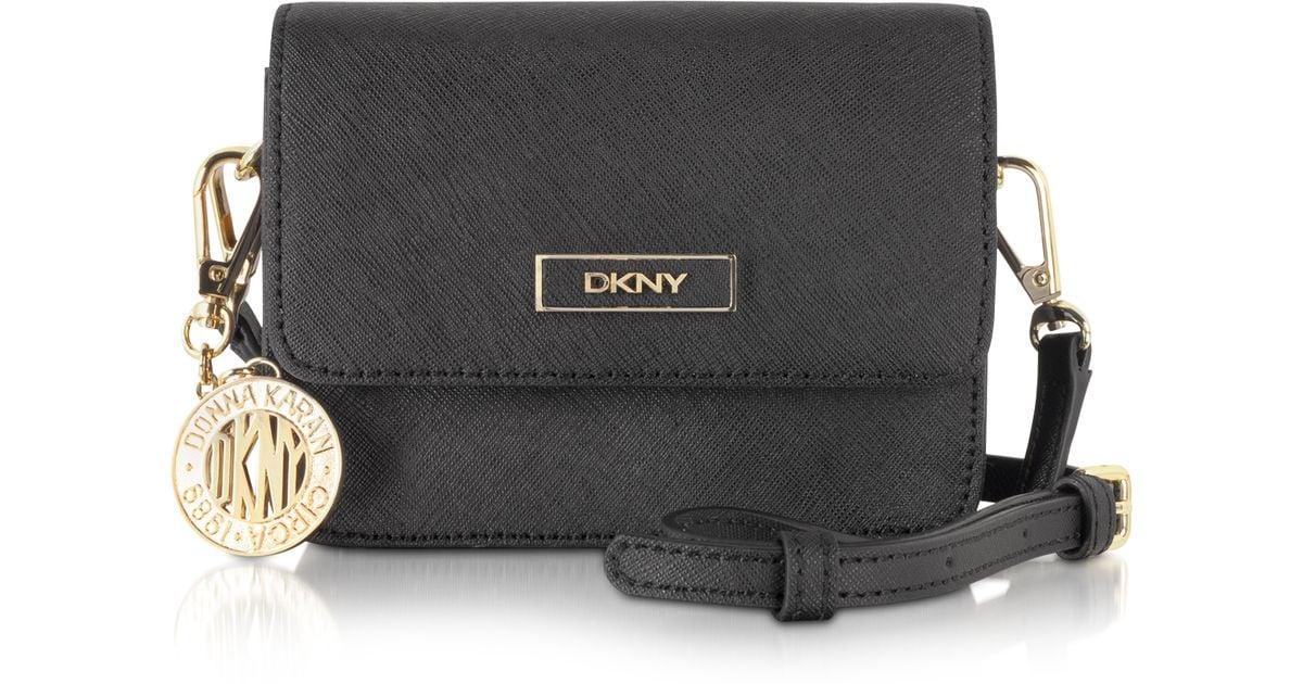 bbe37483e6 Lyst - DKNY Bryant Park Mini Saffiano Leather Crossbody Bag in Black