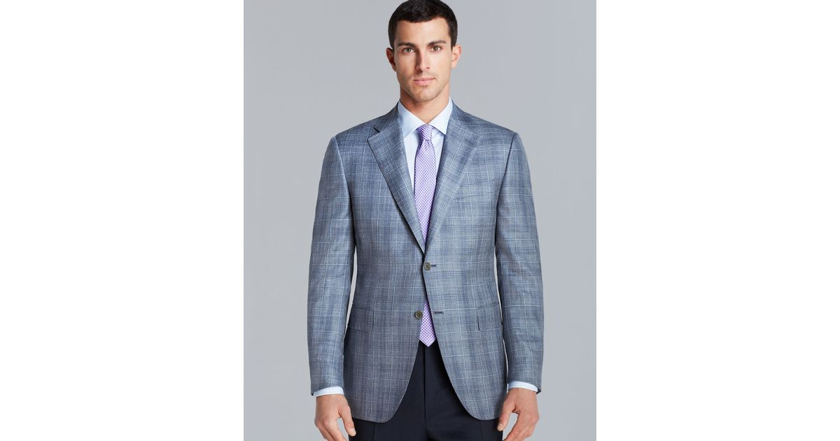Canali Siena Plaid Sport Coat Regular Fit In Slate Gray