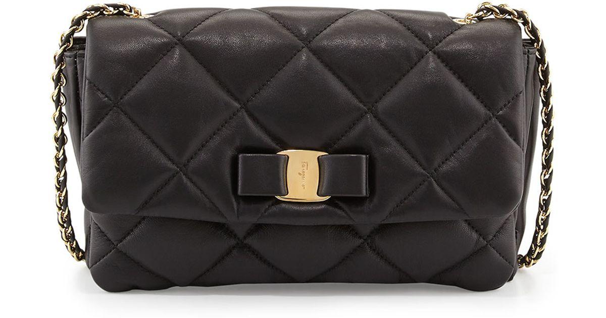 6866f0404d83 Lyst - Ferragamo Gelly Quilted Leather Shoulder Bag in Black