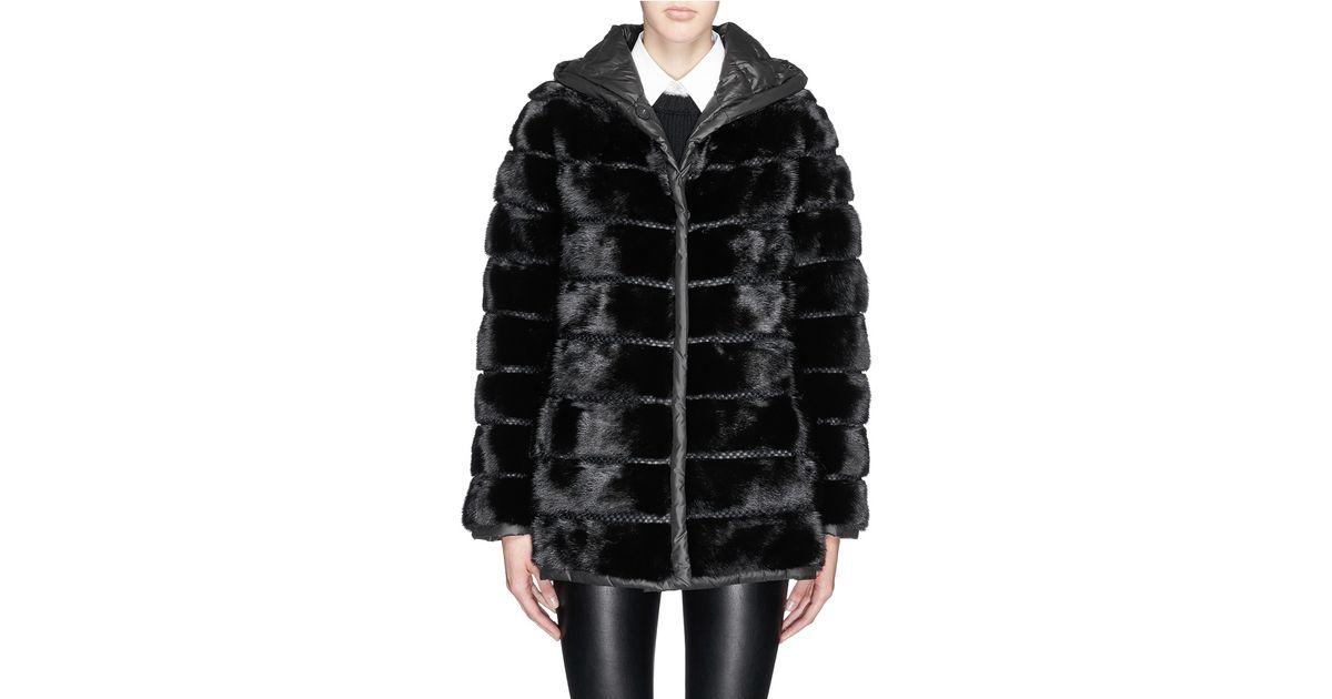 7bef74e980e4 Yves Salomon Reversible Mink Fur Nylon Hood Jacket in Black - Lyst