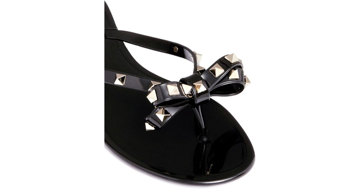 Valentino Rockstud Bow Flat Jelly Sandals In Black For