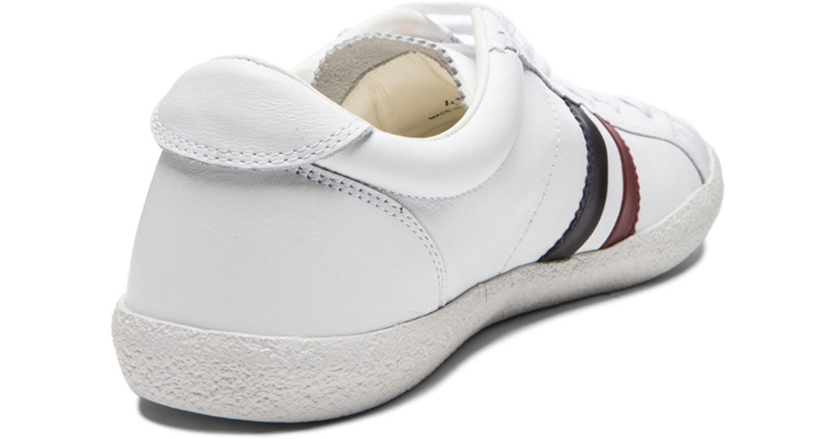 Moncler Old School Leather Sneakers In White For Men Lyst