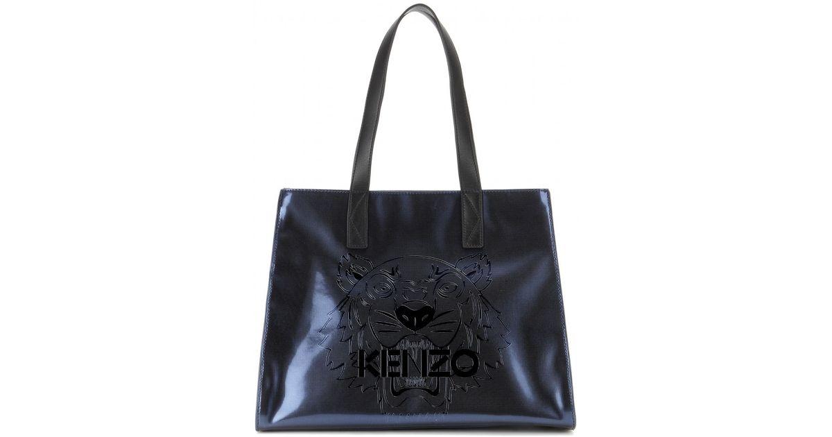 0b006fc851 KENZO Large Metallic Tiger Tote Bag in Black - Lyst