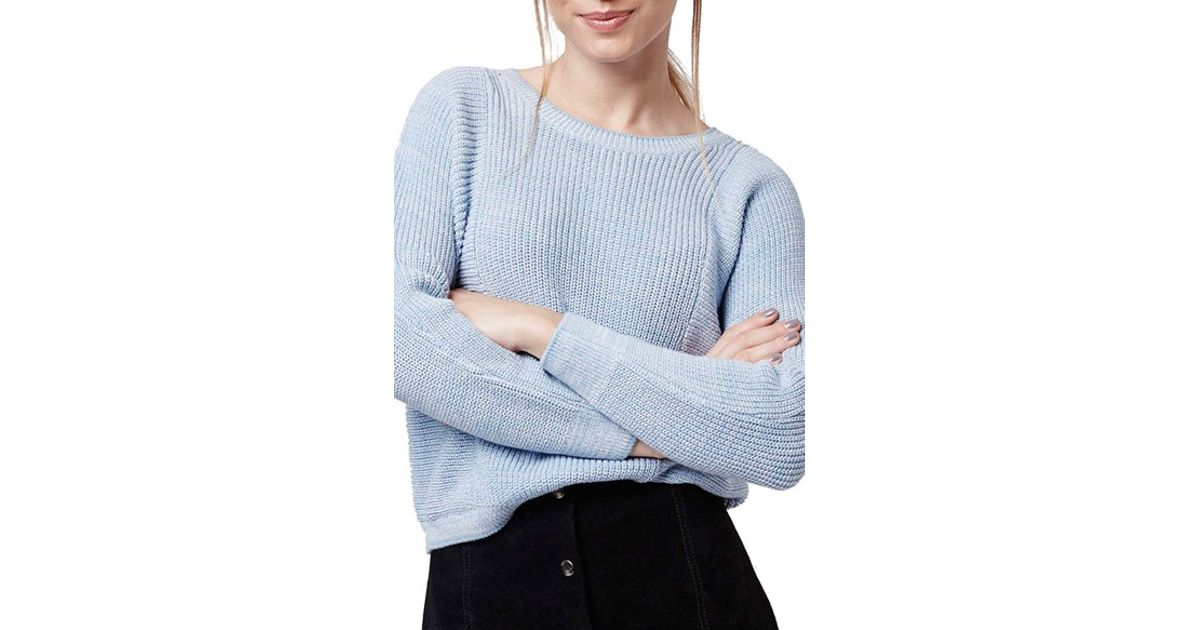 Lyst Topshop Ribbed Crop Sweater In Blue