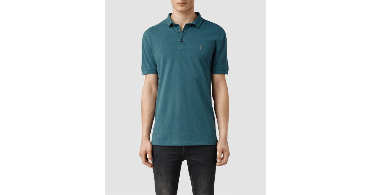 Allsaints Reform Polo Shirt Usa Usa In Blue For Men
