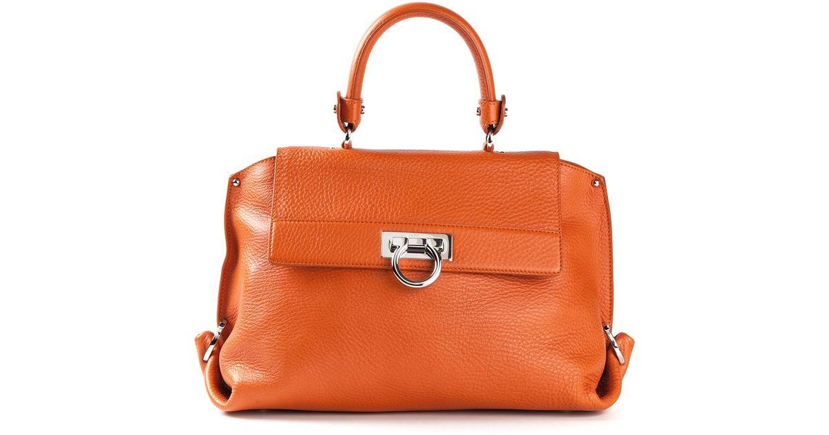 b365c70325a6 Lyst - Ferragamo Classic Shoulder Bag in Orange