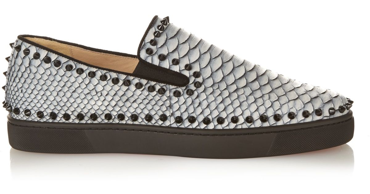 bcb2a41a001 ... clearance christian louboutin pik boat python studded python sneakers  in black for men lyst c68af c958b