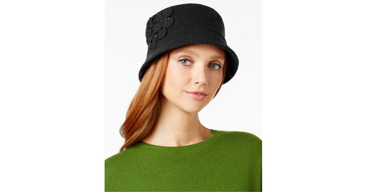 2975c47885b Lyst - Nine West Flowered Wool Knit Micro Brim Hat in Black