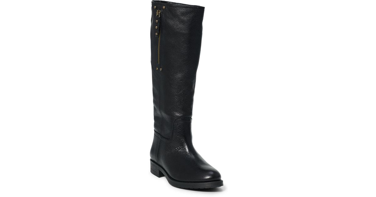 polo ralph theora leather boot in black lyst