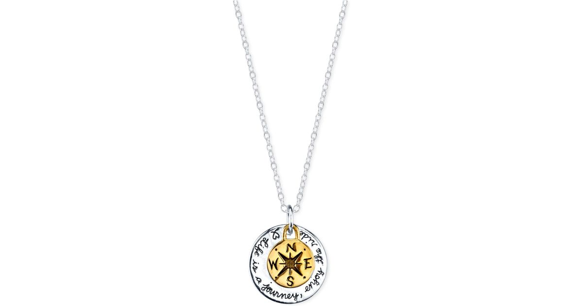 Lyst macys life is a journey compass pendant necklace in gold lyst macys life is a journey compass pendant necklace in gold flashed sterling silver and sterling silver in metallic aloadofball Choice Image
