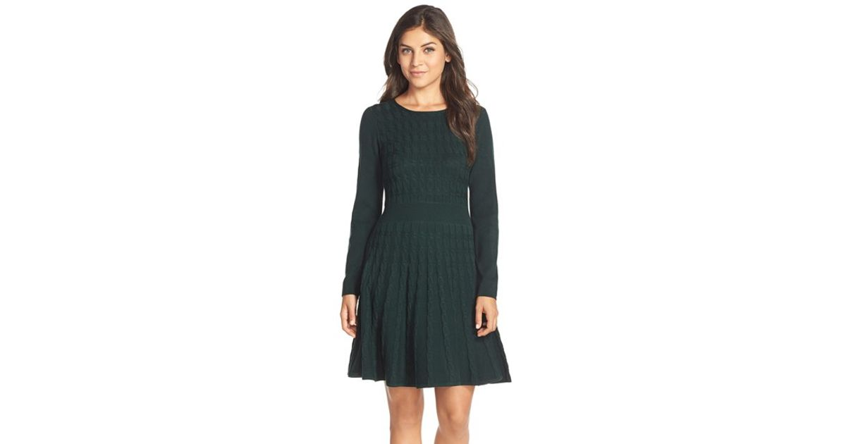 Lyst Eliza J Cable Knit Fit Flare Sweater Dress In Green