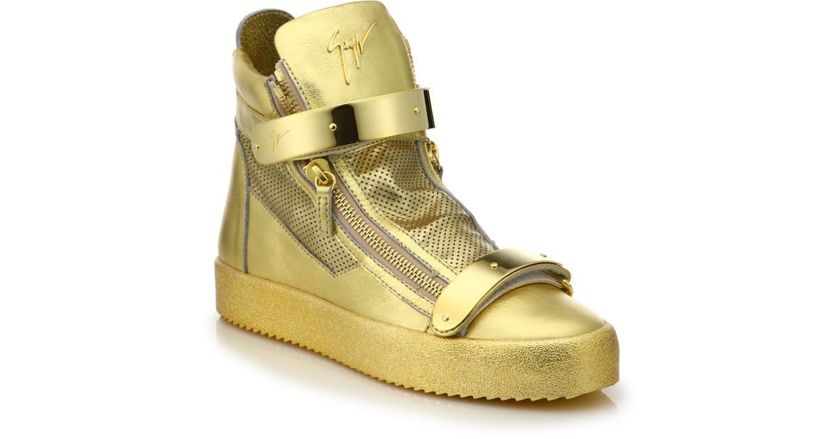 Lyst - Giuseppe Zanotti Perforated Double Bar Leather High-top Sneakers in  Metallic for Men 7d381a87d