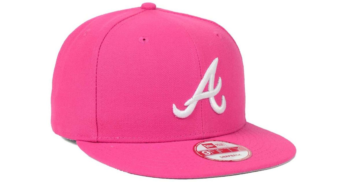 100% quality lace up in free delivery KTZ Cotton Atlanta Braves C-dub 9fifty Snapback Cap in Pink for ...