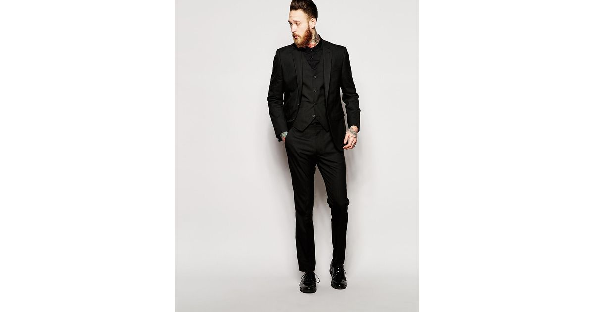 Asos Slim Fit Suit Trousers In Black Pindot in Black for Men   Lyst