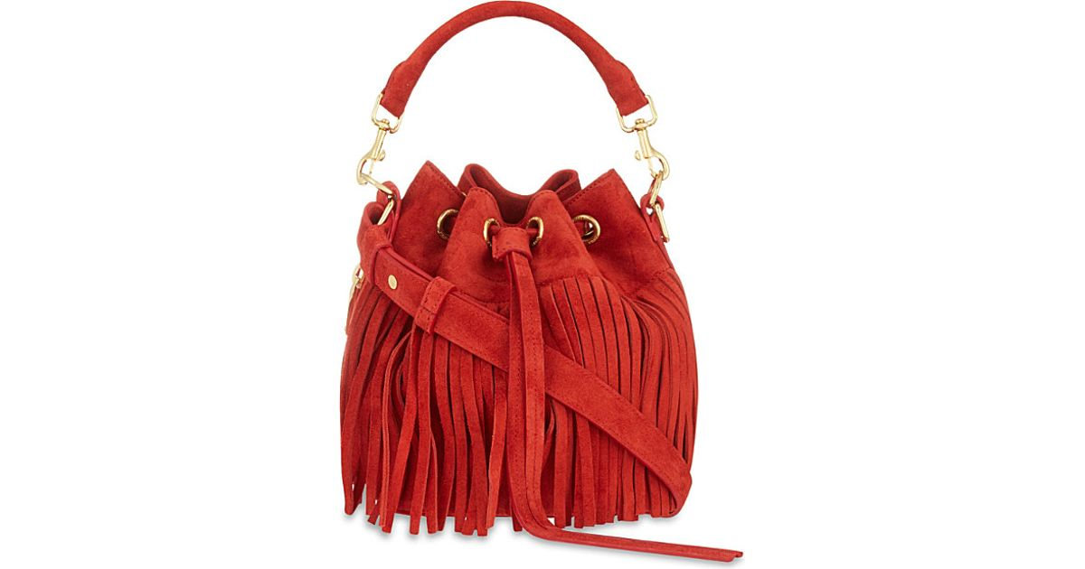 1906d8905df12 Saint Laurent - Red Emma Fringe Suede Bucket Bag - For Women - Lyst