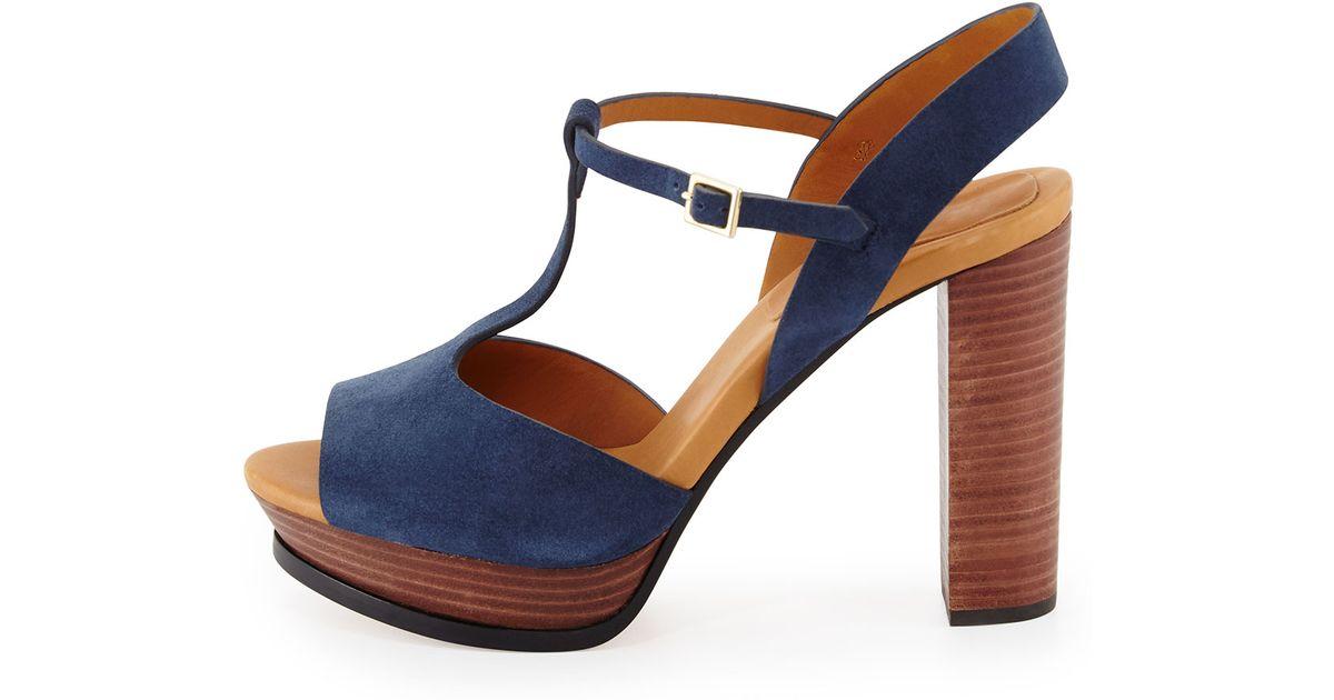 025064cde5f2 Lyst - See By Chloé Alex Platform T-Bar Sandals in Blue