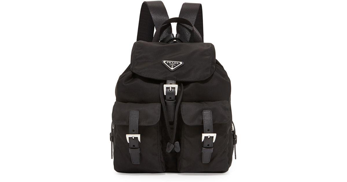 48fb3d486004 Prada Vela Small Nylon Backpack in Black for Men - Lyst