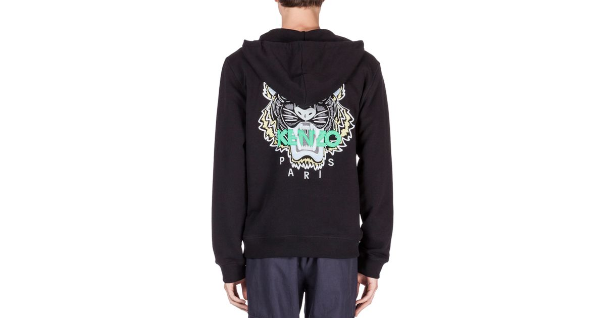 2be3fce3 KENZO Black Zip-up Hoodie With Embroidered Tiger Icon for men
