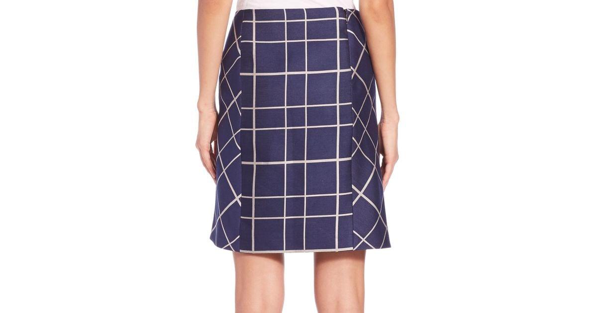 aquilano rimondi plaid a line skirt in purple blue