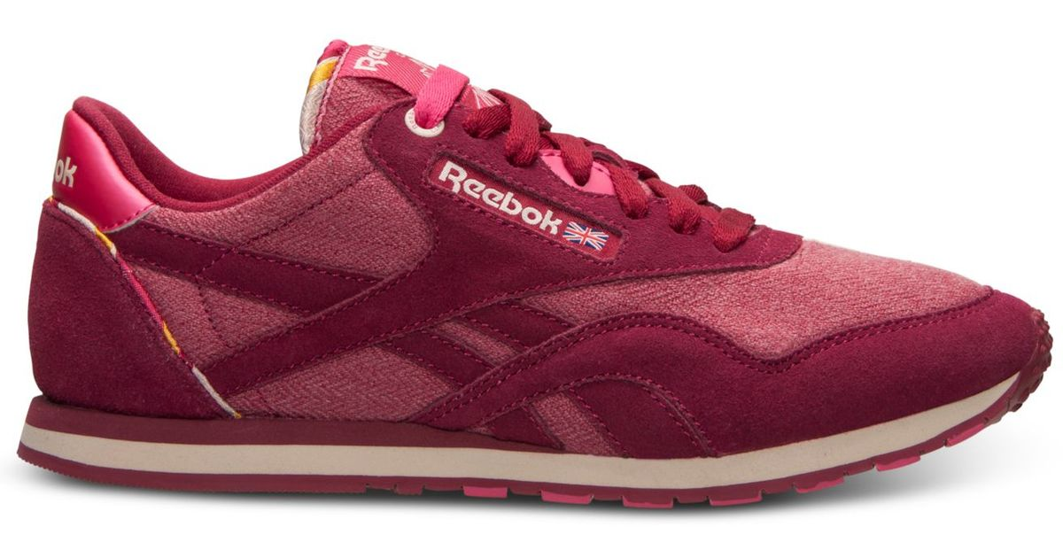 d228b58cdfb Lyst - Reebok Women S Classic Nylon Slim Jacquard Casual Sneakers From  Finish Line in Pink