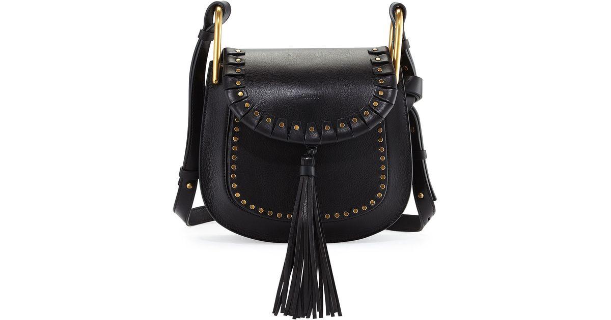 eaa331eaa2d Chloé Hudson Large Studded Leather Saddle Bag in Black - Lyst