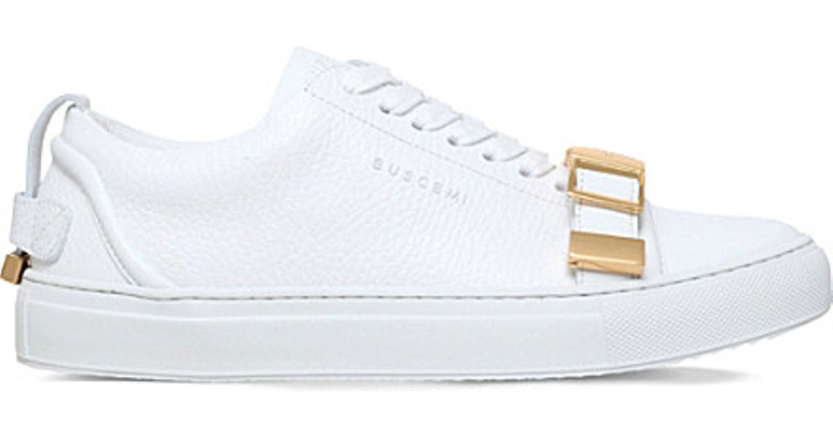 online retailer eaab6 bb583 Buscemi 50mm Strap Leather Trainers in White - Lyst