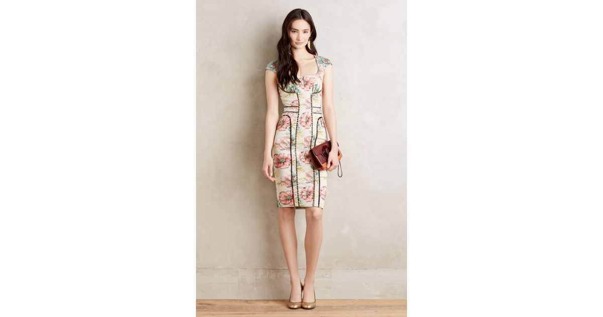 6e6003fa871d Byron Lars Beauty Mark Brocade Garden Floral Sheath Dress in Natural - Lyst