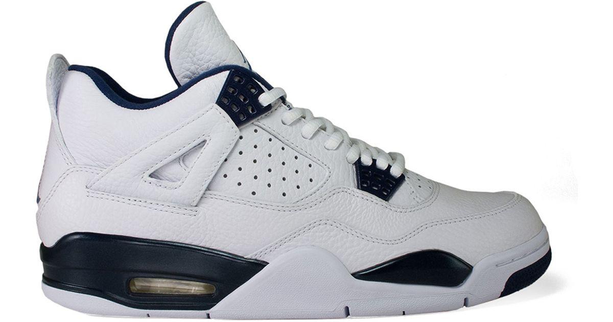 online retailer 3709d 663ae Lyst - Nike Air Jordan 4 Columbia Leather Sneakers in White