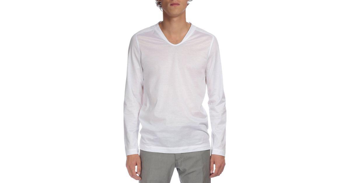 Berluti long sleeve v neck t shirt in white for men lyst for Long white v neck t shirt