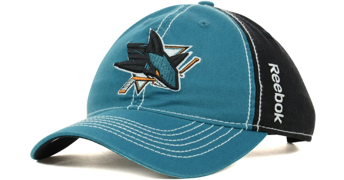 6ccb8459122d45 ... promo code for lyst reebok san jose sharks nhl spin slouch cap in blue  for men