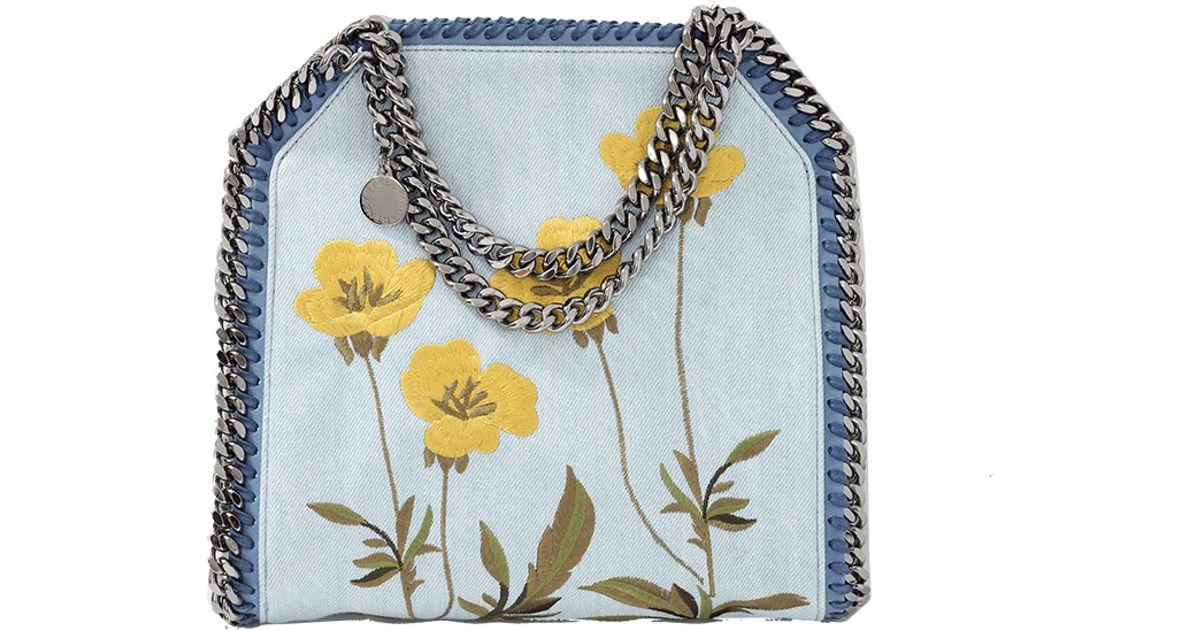8d1575cded Lyst - Stella McCartney Falabella Mini Bella Floral Tote in Blue