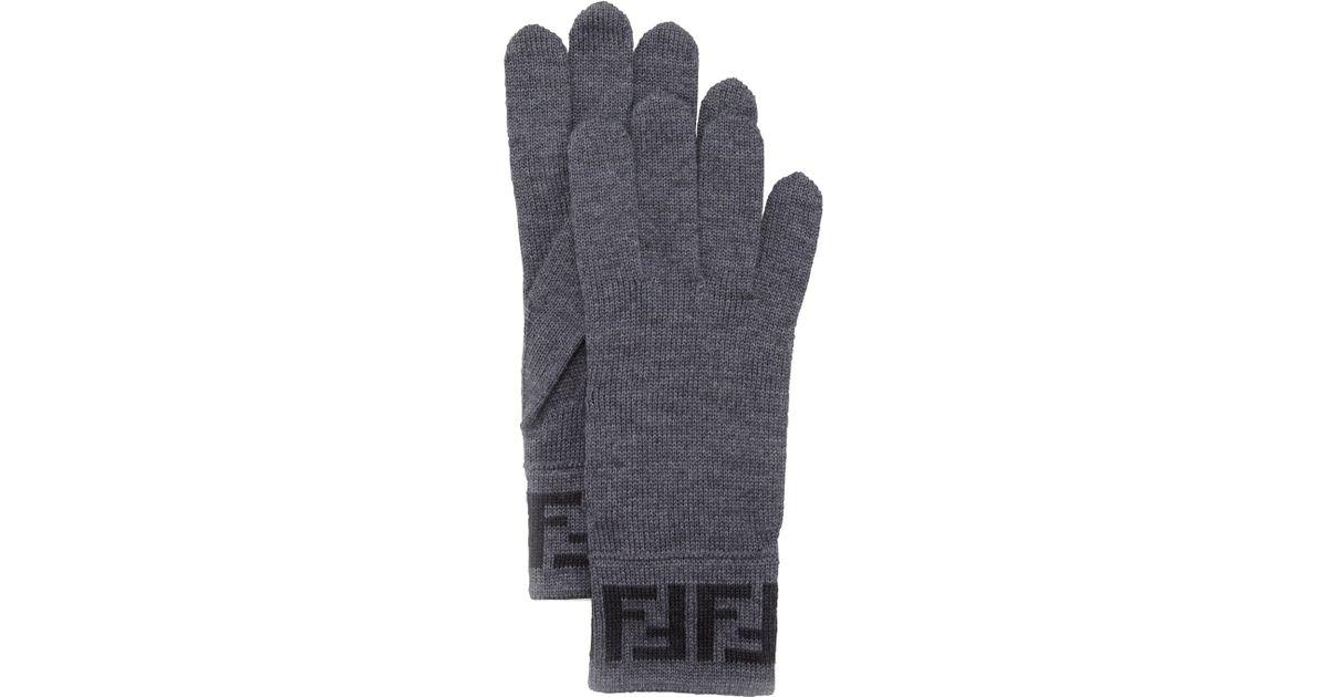 24c0d7b0215b Lyst - Fendi Mens Zucca Knit Gloves in Gray for Men