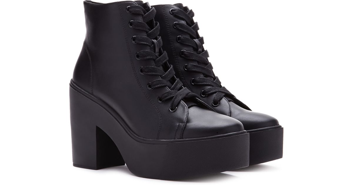 Forever 21 Lace-up Platform Booties in