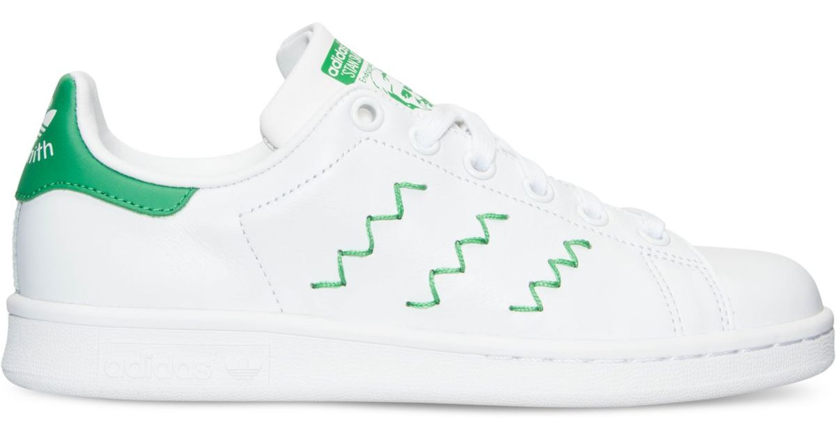 buy online 4a3c5 149ae Adidas Originals White Women's Stan Smith Squiggly Casual Sneakers From  Finish Line