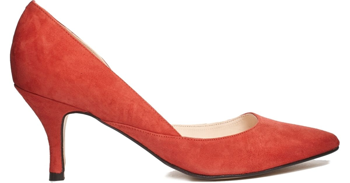 Ganni Janet Suede Red Kitten Mid Heeled Shoes in Red | Lyst