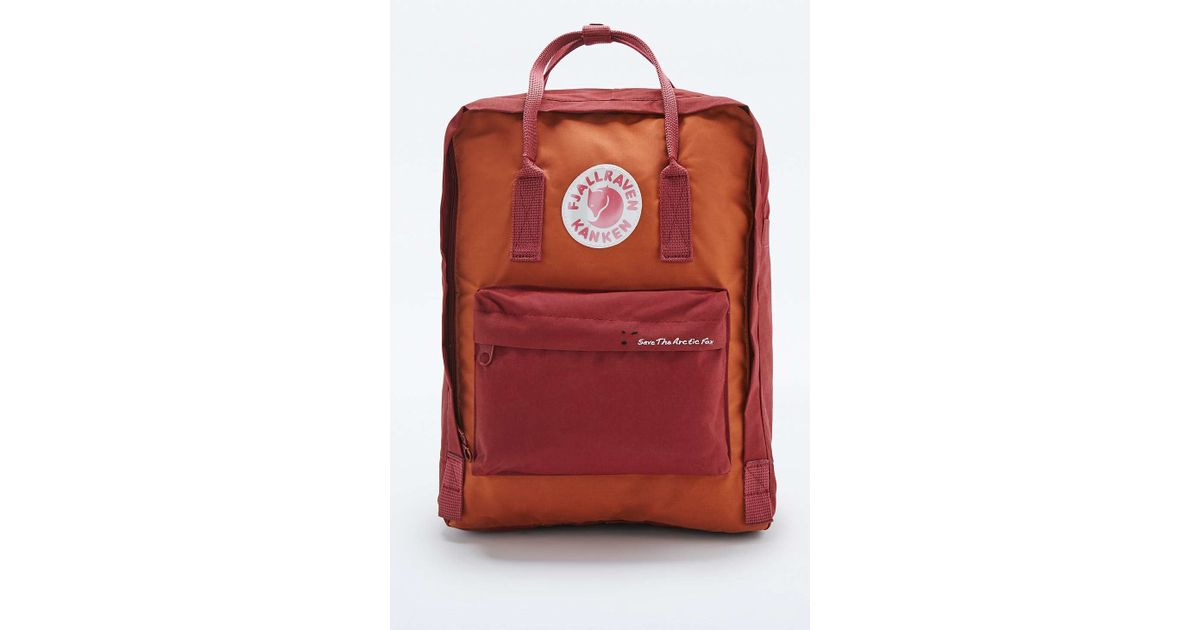 d6abbe8d6b5 Fjallraven Kanken Classic Red Brick Save The Arctic Fox Backpack in Orange  - Lyst