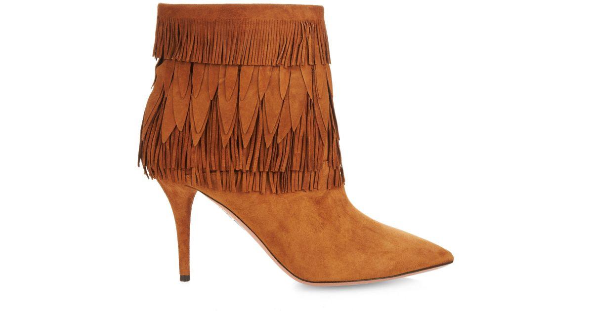 Vente Style De Mode En Ligne Aquazzura Fringed ankle boots Pas Cher 2018 Unisexe Avec Paypal Prix Pas Cher Sortie Vente En Ligne Ht2iBzMP